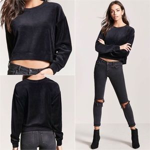 New Black Short Velvet Pullover